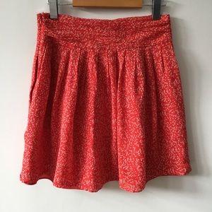 Club Monaco Red Silk Mini Skirt